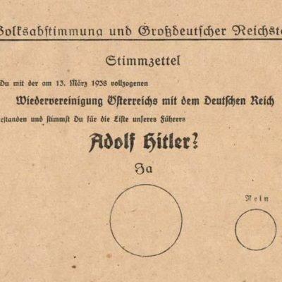 Karta wyborcza - przyłączenie Austrii do Niemiec (Anschluss 1938)
